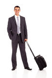 Businessman trolley bag. Businessman with trolley bag isolated on white Stock Photography