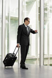 Businessman with trolley case looking at his watch Royalty Free Stock Photos