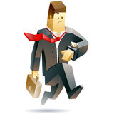 Businessman in trouble. Vector illustration of a businessman running in panic Stock Photo