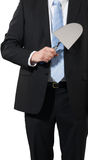 Businessman with a trowel Royalty Free Stock Photo