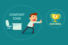 Businessman try to break out of comfort zone. Illustration of businessman try to break out of comfort zone to success vector illustration