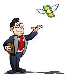 Businessman try to catch flying dollar on isolated over white Royalty Free Stock Photos