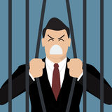 Businessman try to escape from prison Stock Images