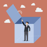 Businessman try to get out of the box Royalty Free Stock Image