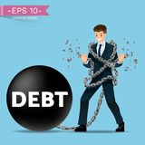 Businessman try to release the iron chain that attach him to stuck with a steel ball debt until it`s break. Vector illustration design Royalty Free Stock Photo