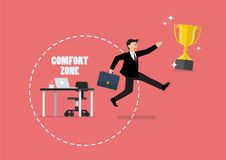Businessman trying to break out of his comfort zone to success. Vector illustration Stock Photography