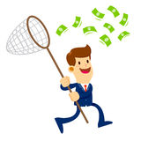 Businessman Trying To Catch Money With a Net Royalty Free Stock Photos