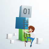 Businessman trying to climb up on 3D cubes. Royalty Free Stock Photography
