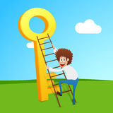 Businessman trying to climb up on success key. Royalty Free Stock Photos