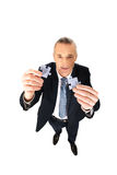 Businessman trying to connect puzzle pieces. Royalty Free Stock Photo
