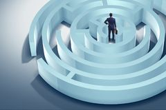 The businessman is trying to escape from maze labyrinth. Businessman is trying to escape from maze labyrinth Royalty Free Stock Images