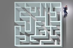 The businessman is trying to escape from maze labyrinth. Businessman is trying to escape from maze labyrinth vector illustration