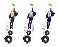 Illustration of  vector flat businessman trying to get a dollar. Being motivated by money. Earning much more money. Pursuit of mon. Ey.  Trying to earn stock illustration