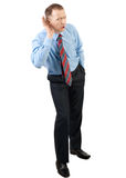 Businessman trying to hear what you say Stock Image