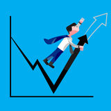 Businessman trying to increase sales figures. Businessman or company hero trying to increase sales figures. Pulling off graph upward. Report hero. Stylist vector illustration