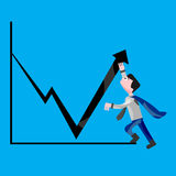 Businessman trying to increase sales figures. Businessman or company hero trying to increase sales figures. Pulling off graph upward. Stylist illustration royalty free illustration