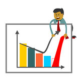Businessman trying to increase sales figures. Pulling off graph upward. Illustration of a company report hero royalty free illustration