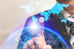 Businessman turn on power switch to connect global connection. Businessman turn on power switch hologram to connect global connection with digital planet screen stock photography