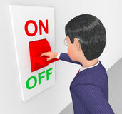 Businessman Turned Off Represents Power Switch And Company Royalty Free Stock Photos