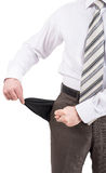 Businessman turned out his pocket Stock Photography