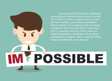 Businessman turning the word impossible stock illustration