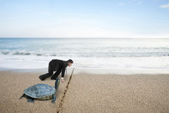 Businessman and turtle are ready to race on sand beach Royalty Free Stock Image