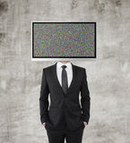 Businessman with TV Royalty Free Stock Image