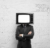 Man with tv head Royalty Free Stock Photo