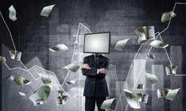 Businessman with TV instead of head. Stock Photos