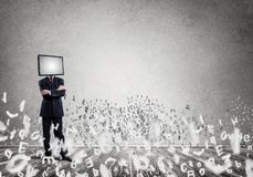Businessman with TV instead of head. stock photo