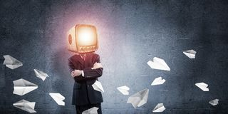 Businessman with TV instead of head. Royalty Free Stock Image