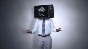 Businessman with tv on his head stock footage