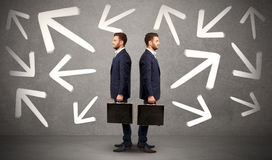 Businessman with two choices Stock Photo