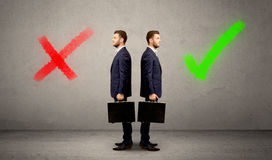 Businessman with two choices Royalty Free Stock Photos