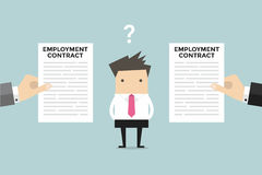 Businessman with two employment contract offer from two companies. Royalty Free Stock Image