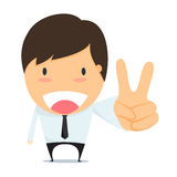 Businessman with two fingers up. Stock Photos