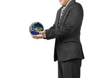 Businessman two hands hold ball with global map isolated in whit. E background royalty free stock image