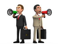 Businessman with two megaphone. 3d businessman with two megaphone Royalty Free Stock Photography