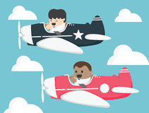 Businessman two pilots flying on airplane In the sky Royalty Free Stock Photos