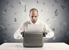 Businessman with typewriter Stock Photography