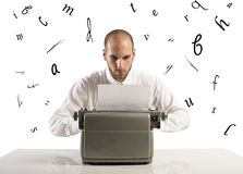 Businessman with typewriter Stock Images