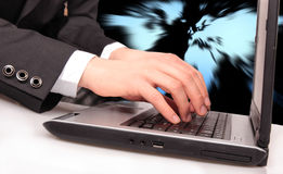 Businessman typing Stock Images