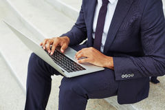 Businessman typing Royalty Free Stock Photo