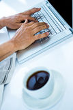 Businessman typing on his computer Stock Images