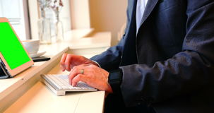 Businessman typing on keyboard in café stock video
