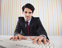 Businessman typing in the keyboard Royalty Free Stock Photo