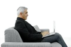 Businessman typing on laptop Stock Photo