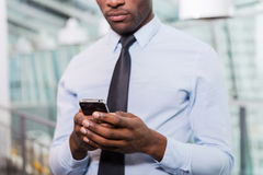 Businessman typing message. Stock Photography