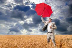 Businessman umbrella Stock Images
