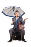 Businessman with umbrella Stock Photography